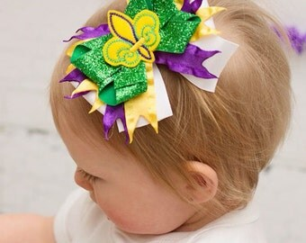 Purple, Green, and Gold Mardi Gras HairBow - Mardi Gras Bow - Fleur de lis - Purple - Green - Gold - Bow - Hairbow - boutique bow - hair bow