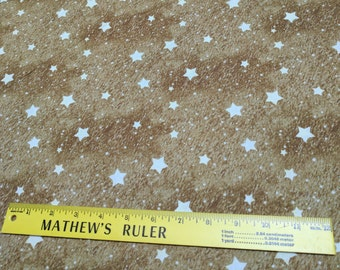 Old World Christmas Cotton Fabric - White Stars on Gold Cotton Fabric