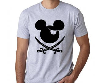 Men's Disney Shirt - Mickey Mouse Pirate Perfect for Pirates of the Caribbean Fans and Family Reunion or  trip to Disneyland or Disney World