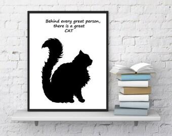 Cat black print, Cat poster, Cat quotes, Cat lovers gift, Great cat, Cat wall art, Pet inspirational art, Kids room , InstantDownloadArt1