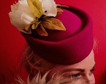 Pill Box Hat Pink Wool Air Hostess Shaped Base Bespoke Cream Silk Flowers  Hats Fascinators