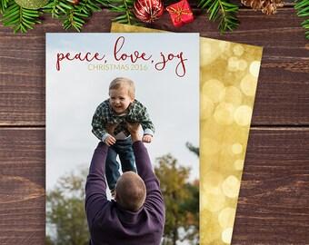 Peace, Love, Joy Christmas Card | Holiday Card
