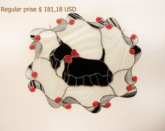 SALE! Scottish Terrier Stained Glass Suncatcher, Window Decoration, Memorial Gift, Dog Lover Gift, Black White Red, Scottie Dog