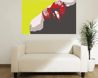 LARGE SIZE Lips Pop Art Poster, Retro Poster / Large Poster / Big Poster / Large Print / Big Lips /  Retro Print