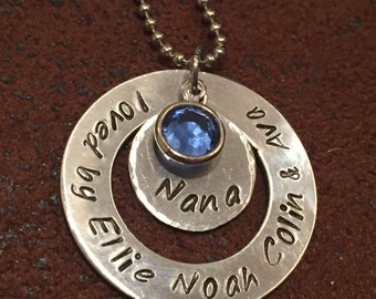 "hand stamped ""nana"" necklace, personalized grandmother necklace, custom birthstone grandmother necklace, Gigi necklace, Grandma necklace"