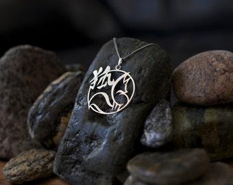 Kitsune (Fox/Fox) silver/Silver necklace 925