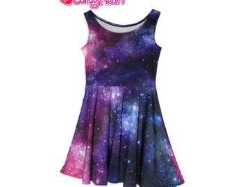 Galaxy Dress Original Print Space Skater Dress Universe In Stock & MTO Sz Xs-5XL