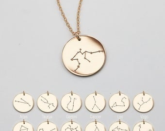 Constellation necklace, Zodiac Jewelry, Astrology Zodiac necklace, libra, virgo, scorpio, sagittarius, capricorn, mothers day gift D16h