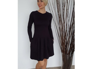 Women purple dress - Women mini dress - Office viscose dress - Stylish casual dress - Aubergine dress - Women casual dress - ND617B