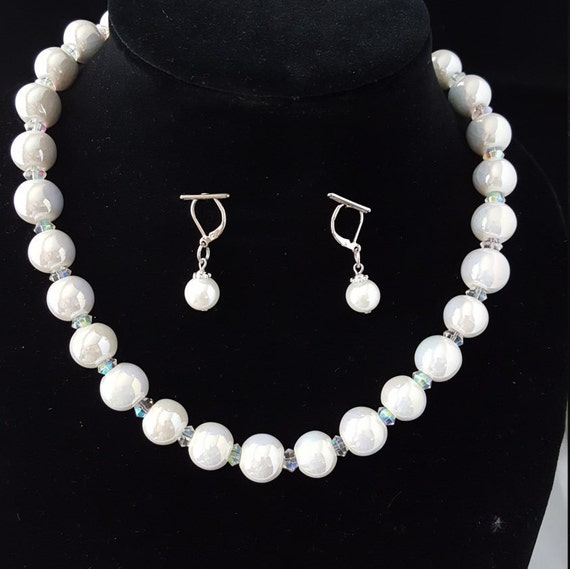 Beaded white bridal necklace set or ladies formal necklace set