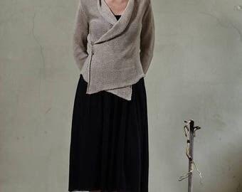 Linen wrap, Beige knitted linen sweater, Linen summer jacket, Organic linen cardigan,Knit linen jacket,Linen summer wrap,Knit linen sweater