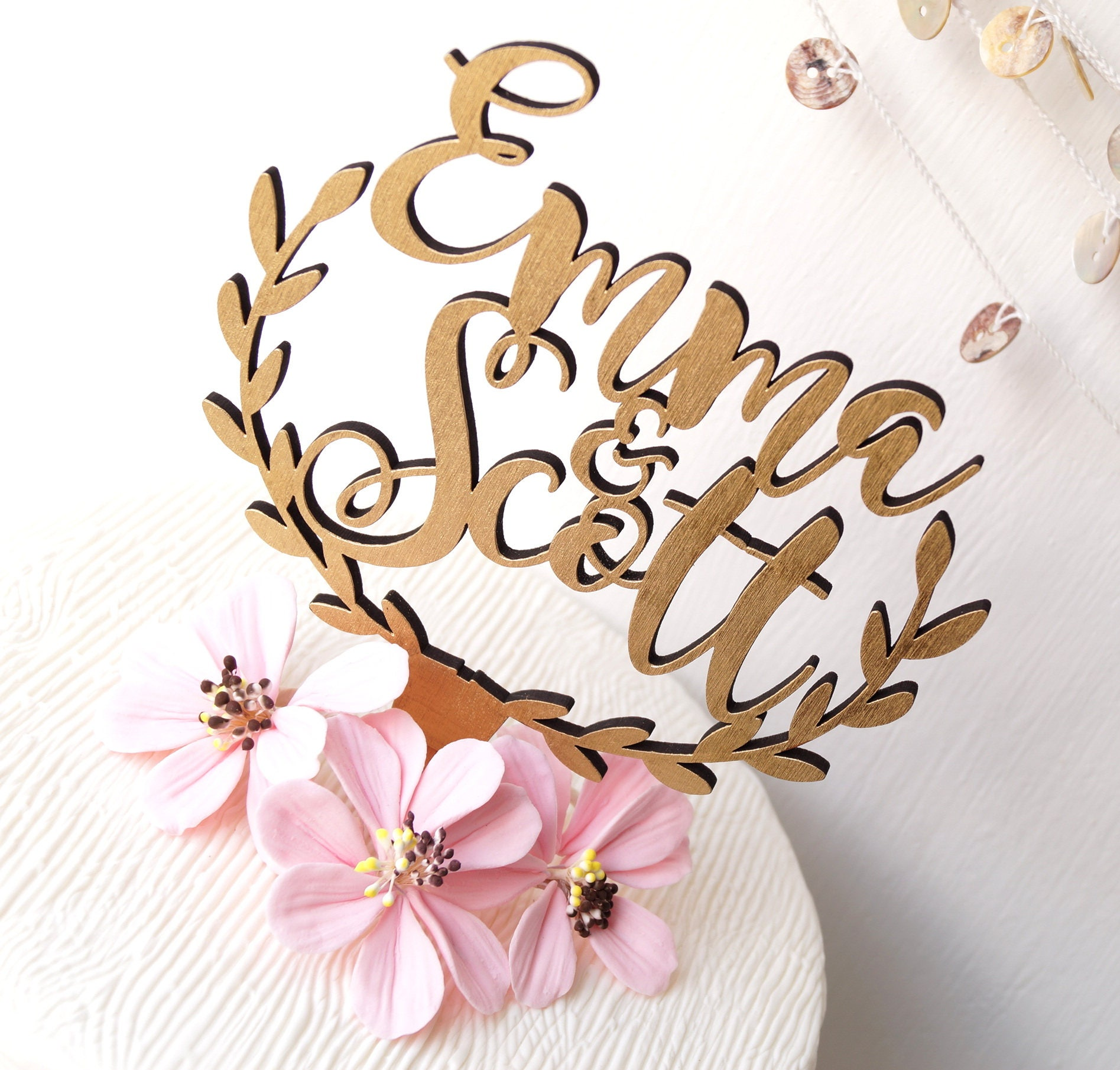 Custom Cake Topper Personalized Wedding Rustic Wooden Names