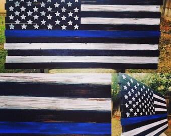 Rustic Blue Line Flag