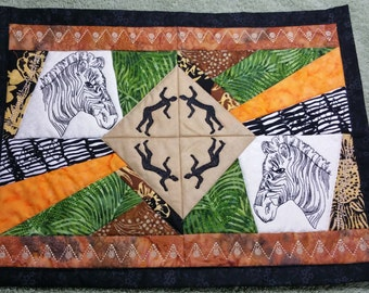 Zebra Placemat, Quilted Placemat, African TableMat, Batik Placemat, Quilted Doily, African PlaceMat, Wall Art Placemat, Home Decor Table Mat