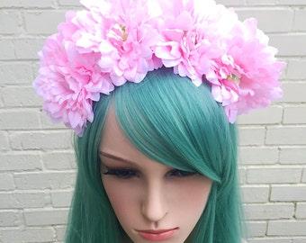 Pink Flower Crown, Pink Headband, Baby Pink Hair Flowers, Wedding Headband, Pink Hair Accessory,  Bride Crown, Mardi Gras, Pink Crown