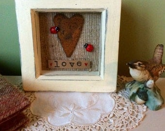 Cream and blue box collage love picture with rusty tin heart and ladybirds. Valentines/Newlyweds/Mothers Day/Wedding  gift