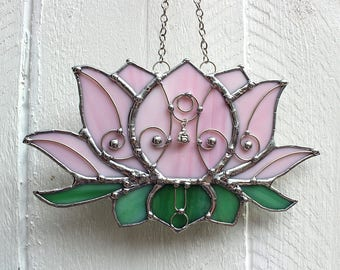 Lotus Blossom Buddha Pink Stained Glass Suncatcher Window Ornament