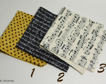Cotton Printed Pocket Square, Mens Suit Handkerchief in Yellow, Black and White, Patterned Suit Hanky with Music Notes and Words