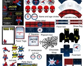Spiderman Birthday Party,Spiderman Party Decoration,Spiderman Banner,Spiderman  Invitation,Spiderman Party,Spiderman Party Supplies