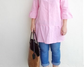 Linen Tunic / Drop Waist Linen Tunic, Square Neckline Linen Top with Ruffle Sleeves