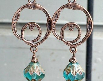 Hammered Copper and Czech Glass Earrings, Abstract Hoop Dangle Earrings, Handmade Jewelry, Czech Glass Jewelry