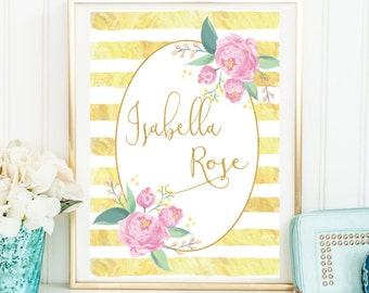 Custom Baby Name Sign, Floral Print Sign, Baby Girl Nursery Art, Baby Girl Nursery Decor, Nursery Sign, Floral Name Sign, Physical Print A4