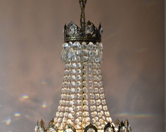 Hanging chandeliers etsy free delivery classic hanging chandelier waterfall antique french vintage crystal chandelier lamp lighting ceiling light fittings aloadofball Image collections