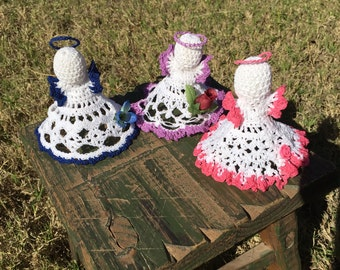 Handmade crochet angel trio Christmas