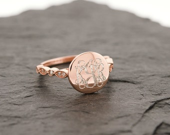 925 Sterling Silver Monogram CZ Ring, Wedding Band, Art Deco, Rose Gold