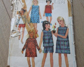 Simplicity 1960s Girls' Pattern/ 6516/ Dress, Overblouse and Shorts Pattern/ Craft Supplies & Tools/ Sewing/ Haberdashery (1727U)