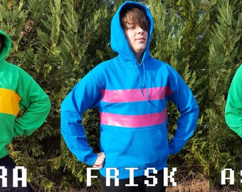 Choice of CHARA or FRISK or ASRIEL Cosplay Pullover Hoodie / Sweatshirt * Parody Undertale Character *  Sizes Youth Small - Adult 5XL