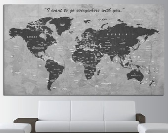 Custom Quote Push Pin World Map Canvas Print World Map Wall Art Set World Map Print World Map Poster Wall Art Canvas World Map Wall Decor