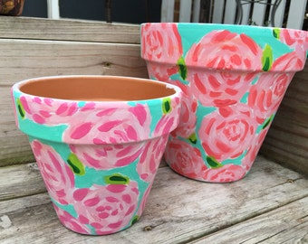 Hand Painted Lilly Pulitzer inspired Terra Cotta Pot