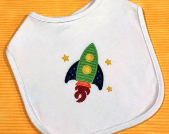 Baby boy applique rocket bib
