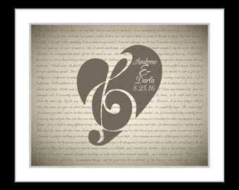 Personalized wedding lyrics print, wedding song, first dance lyrics, custom wedding , 1st anniversary, custom lyrics wedding present