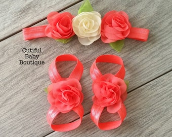 CORAL- Baby Barefoot Sandals and Baby Headband Set, Elastic Sandals, Baby Accessories, Baby Gift Set