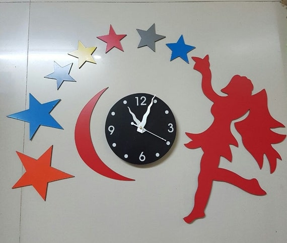 diy metallic wall clock beautiful star and fairy shape home