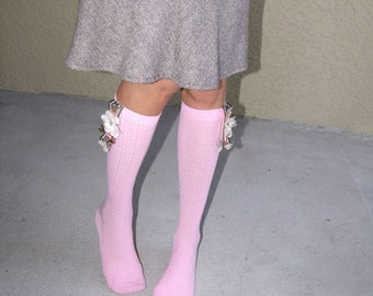 Pink Knee Socks with bling / jewelry / cute decoration / stylish socks with embellishments for girls
