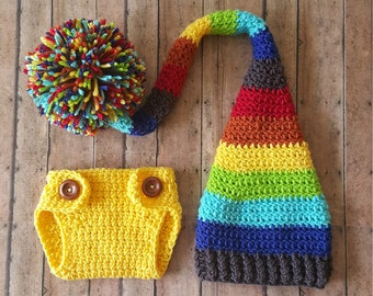 Newborn Rainbow Baby Long Tail Hat and Diaper Cover Set, Rainbow Baby Hat, Diaper Cover, Photo Prop, Crochet Long Tail Hat, Baby Boy Outfit