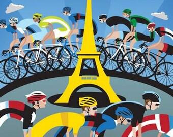 Vintage 2013 Tour de France Cycling Poster A3 Print