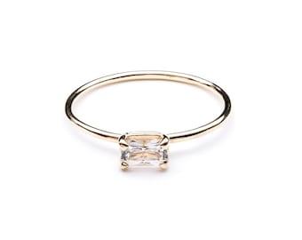 EMERALD CUT ring / emerald ring / emerald cut ring / 14k emerald ring / solid 14k ring / 14k birthstone ring