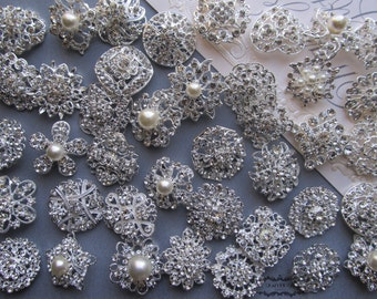 10-100 Brooch Lot Rhinestone Pearl Mixed Silver Pin Wholesale Crystal Wedding Brooch Bouquet Bridal Button Embellishment Hair Cake Shoe DIY