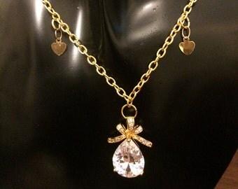 Cubic Zirconia pendant necklace, Tear drop bow pendant necklace, Crystal pendant necklace item 275 by CraftyLittleMonkeyGB