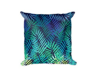 Tropical Pillow Covers, Blue Pillow, Tropical Pillowcase, Green Pillow, Palm Leaf Pillowcase, Tropical Decor, Palm Leaf Pillow Cover