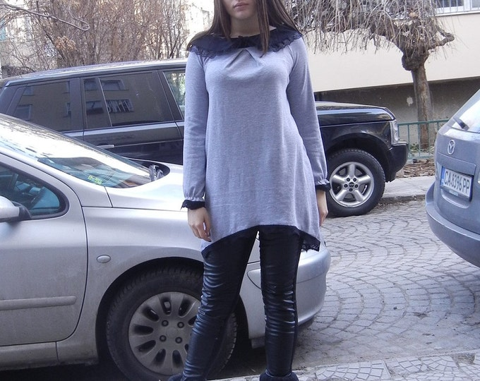 NEW Sexy Gray Extravagant Top / Black Lace Collar Loose Tunic / Soft Cotton Asymmetric Elegant Tunic