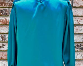 Vintage 1980s Turquoise Women's Blouse