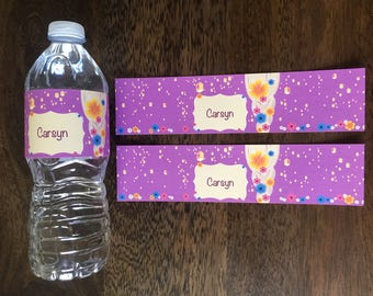 Personalized Tangled Bottle Labels, Rapunzel Party, Tangled Party