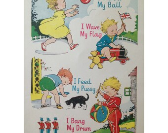 Vintage 1956 children's nursery ready to frame illustration 8x10 -retro, bedroom, decoration, print