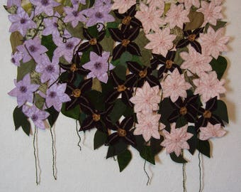 Flower Textile Art, silk Wall hanging, pink and purple Clematis, Summer Garden, Bright colorful fiber art,Textured Textile,leaves and flower