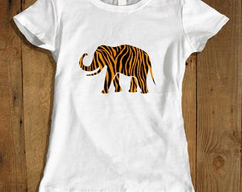 Women's Elephant T-shirt - Tiger Print Shirt for Her - African Elephant Shirt - Tiger T-shirt - Safari Shirt - Elephant Shirts